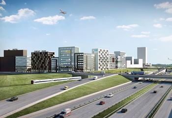 Illustration of the new Ørestad Downtown skyline, with the motorway in the foreground. Photo/illustration: N/A
