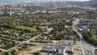 Aerial view of the city of Aarhus, with Zenit Company House at the bottom of the photo. Photo/illustration: N/A
