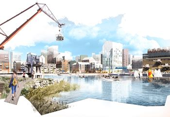 Creative illustration of how the new buildings in Frihamnen, Gothenburg will look like. Photo/illustration: N/A