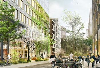 Illustration of a lush and busy street in the new Järva Krog developments. Photo/illustration: N/A