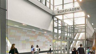 Illustration of Korsvägen station, part of the West Link in Gothenburg. Photo/illustration: Metro Arkitekter