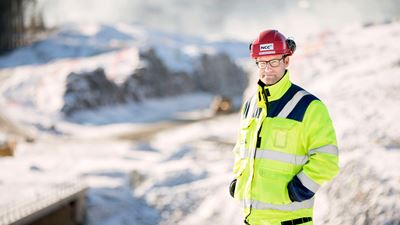 Per-Anders Quist, Project Manager, NCC Infrastructure, Norway. He is standing amongst snowy and hilly terrain. Photo/illustration: N/A